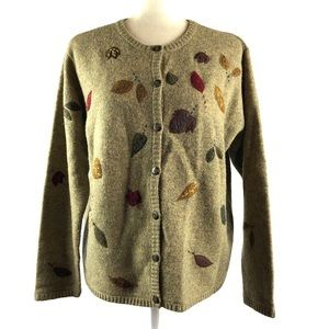 Robert Scott Vintage Wool Autumn Leaves Cardigan